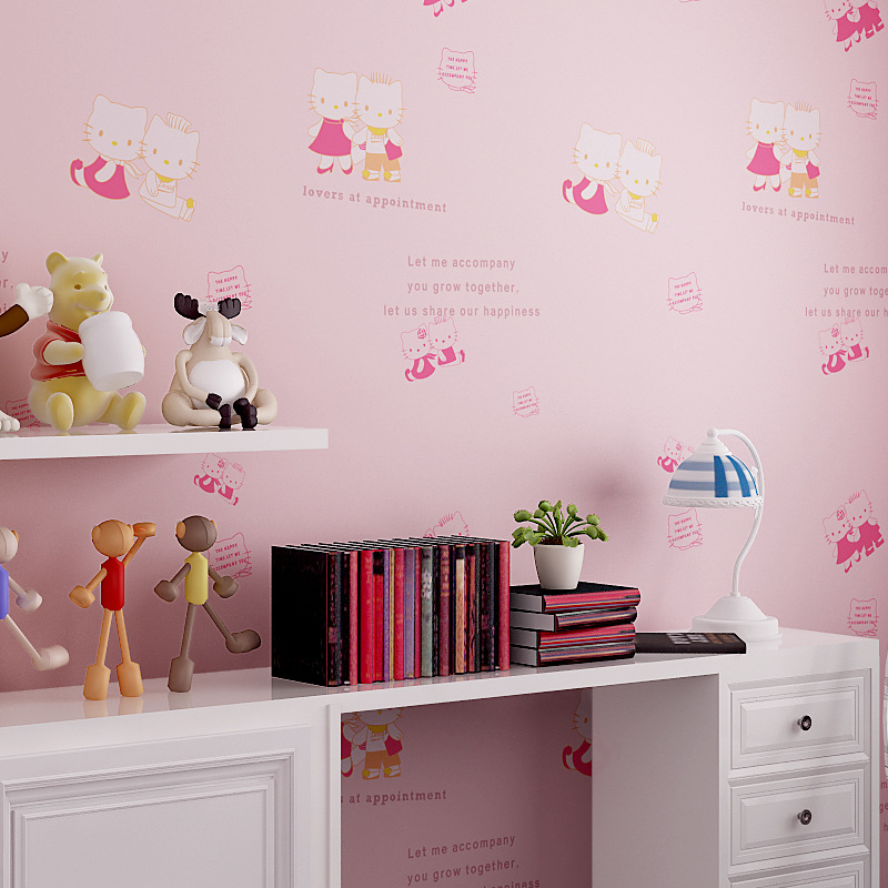 beibehang Cute Cat Pink Cottage Princess Room Green Nonwovens Wallpaper Boys Girl Bedroom Warm Wallpapers princess 132502 pink