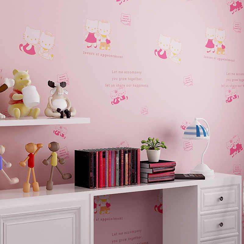 Beibehang Cute Cat Pink Cottage Princess Room Green Nonwovens Wallpaper Boys Girl Bedroom Warm Wallpapers Wallpaper Boys Nonwoven Wallpaperboy Wallpaper Aliexpress