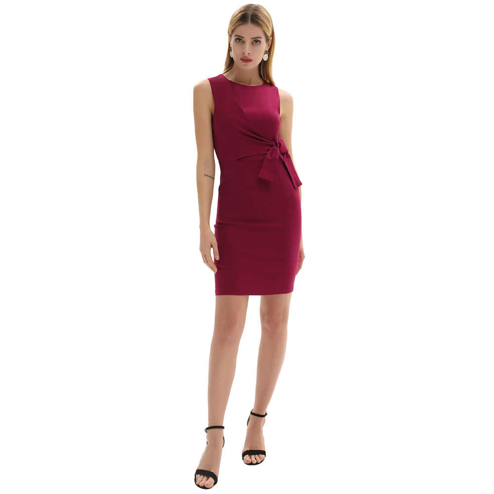 Vestido de cuello redondo Bodycon ajustado fit caderas-envuelto cinturón decorado fiesta de noche nuevo