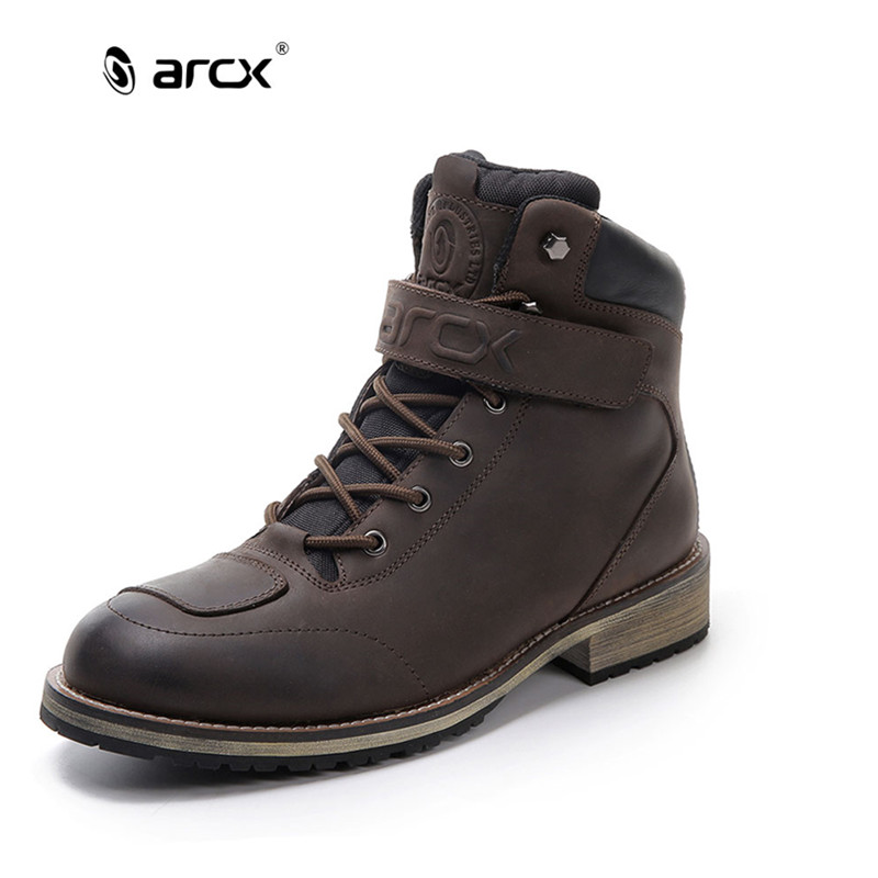 arcx men 39 s leather motorcycle boots waterproof motorcycle outdoor travel boots moto vintage. Black Bedroom Furniture Sets. Home Design Ideas