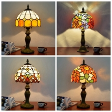 Tiffany Style Table Lamp For Bedroom Bedside Study room Living Decoration masa lambas Mosaic Stained Glass tiffanylamp