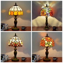 Tiffany Style Table Lamp For Bedroom Bedside Study room Living room Decoration masa lambas Mosaic Stained Glass tiffanylamp(China)