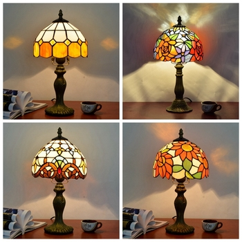 Tiffany Style Table Lamp For Bedroom Bedside Study room Living room Decoration masa lambas Mosaic Stained Glass tiffanylamp