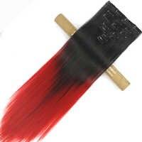 Soowee 7 teile/satz 16 Clips Schwarz Auf Rot Ombre Gerade Synthetische Haarteil Vollen Kopf-clip in Haarverlängerungen Aplique De Cabelo