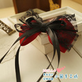princess sweet lolita hair bow Handmade bow Goths hair accessory lace 3 ccbt accessories black and red ribbon bandeaus a0035