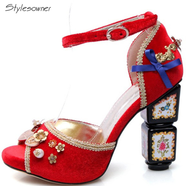 02364a8008a5 Stylesowner 2018 New Chic Ankle Strap Women Sandals Retro High Heels  Crystal Rhinestone Peep Toe Ethnic Knot Ankle Strap Shoes