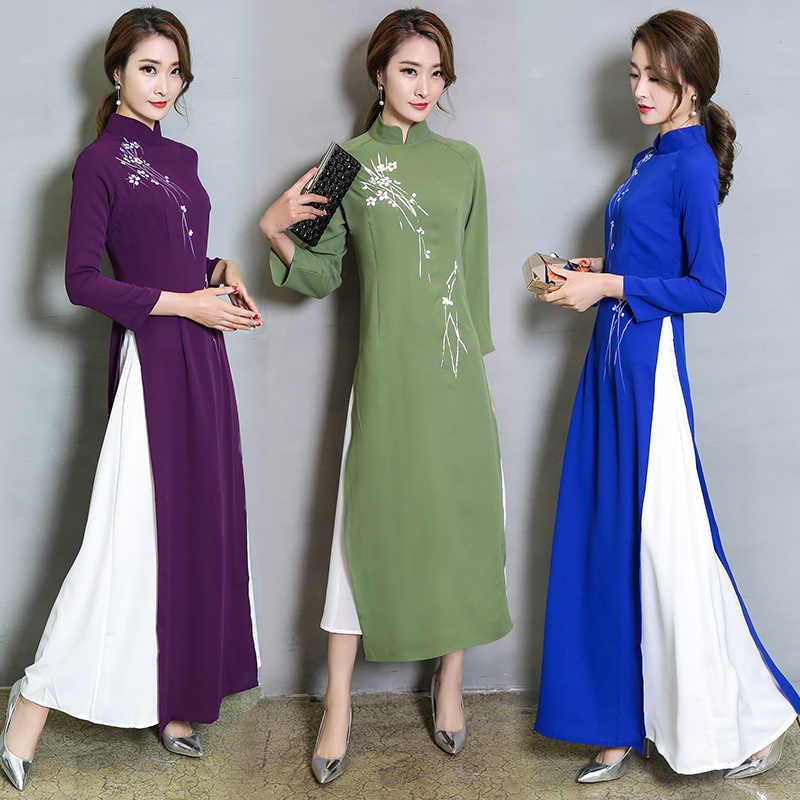 Вьетнам Ао Дай лоскутное обтягивающее платье для женщин китайские традиционные костюмы Ципао Чонсам Цветок женские восточные наряды
