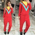 Womens Two Piece Sets 2016 Autumn Tracksuit Female Pullover Striped Hoodie Winter Sporting Suit Track Suit Sweatsuits