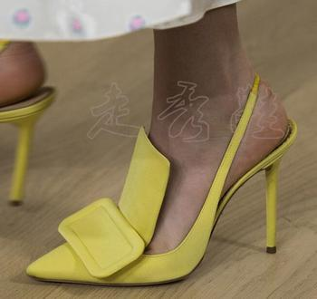 BONJEAN 2019 Summer Pointed Toe High Heel Shoes Woman Sexy Runway Slingback Sandals Shallow Stiletto Heels Dress Pumps