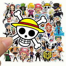 Lote de 50 pegatinas Luffy de ONE PIECE de Anime para coche, portátil, mochila de PVC, calcomanía para el hogar, almohadilla para bicicleta, PS4, calcomanía impermeable