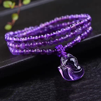 Wholesale Purple Natural Crystal Bracelets Round Beads Elasticity line With Fox Beauty Bracelet Factory Direct Sales Jewelry