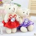 12 CM nueva llegada 48 unids/lote diamante corona pequeño oso ramo de juguete Material embalaje Teddy Bear diamantes flor Doll 4 Colors
