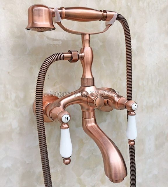 Antique Red Copper Wall Mounted Clawfoot Bathtub Faucet Set With Handheld  Shower Head Dual Ceramic Handles