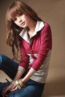 Kadın gömlek 2017 yeni Kore Stil Moda Casual Aktif Patchwork Uzun Kollu Ince Gömlek, T3239