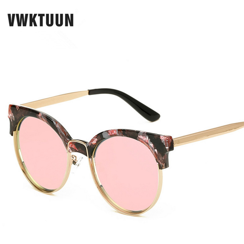 VWKTUUN Round Sunglasses Women UV400 Eyewear Sun Glasses For Men Gold Frame Mirror Cat Eye Shades Sunglass Outdoor Sport Points