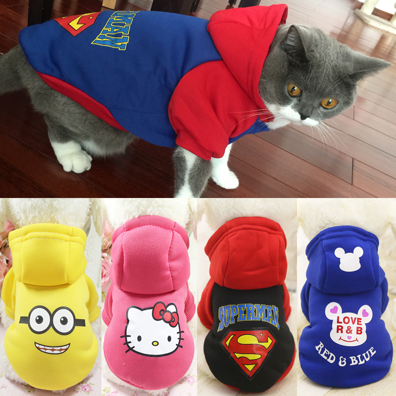 Cartoon Cat Hoodie Sweater Winter Warm Pet Cat Clothes For Small Cats Cotton Kitten Coat Jacket Cat Costumes Clothing Pet Outfit