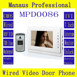 High Quality Smart Home 7 inch Screen Display Video Intercom Phone Wired RFID Magnetic Lock 1V1 Video door phone D86b