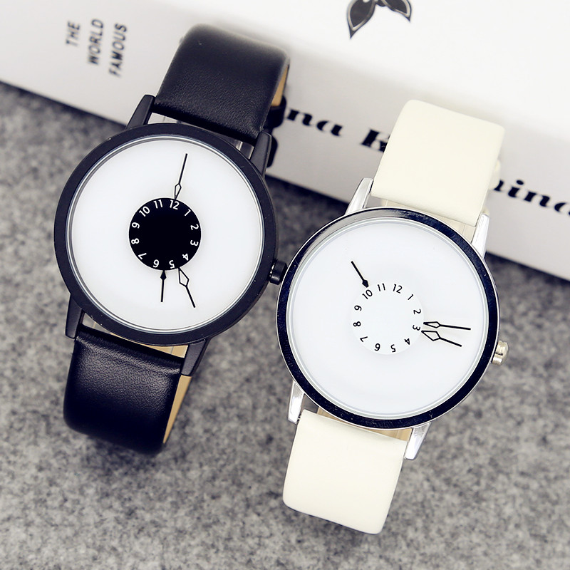 creative pointers - Fashion Creative 3 pointers Watches concept Simple Unisex Wristwatch Quartz Watch Men Women Student Black White Clock relogio