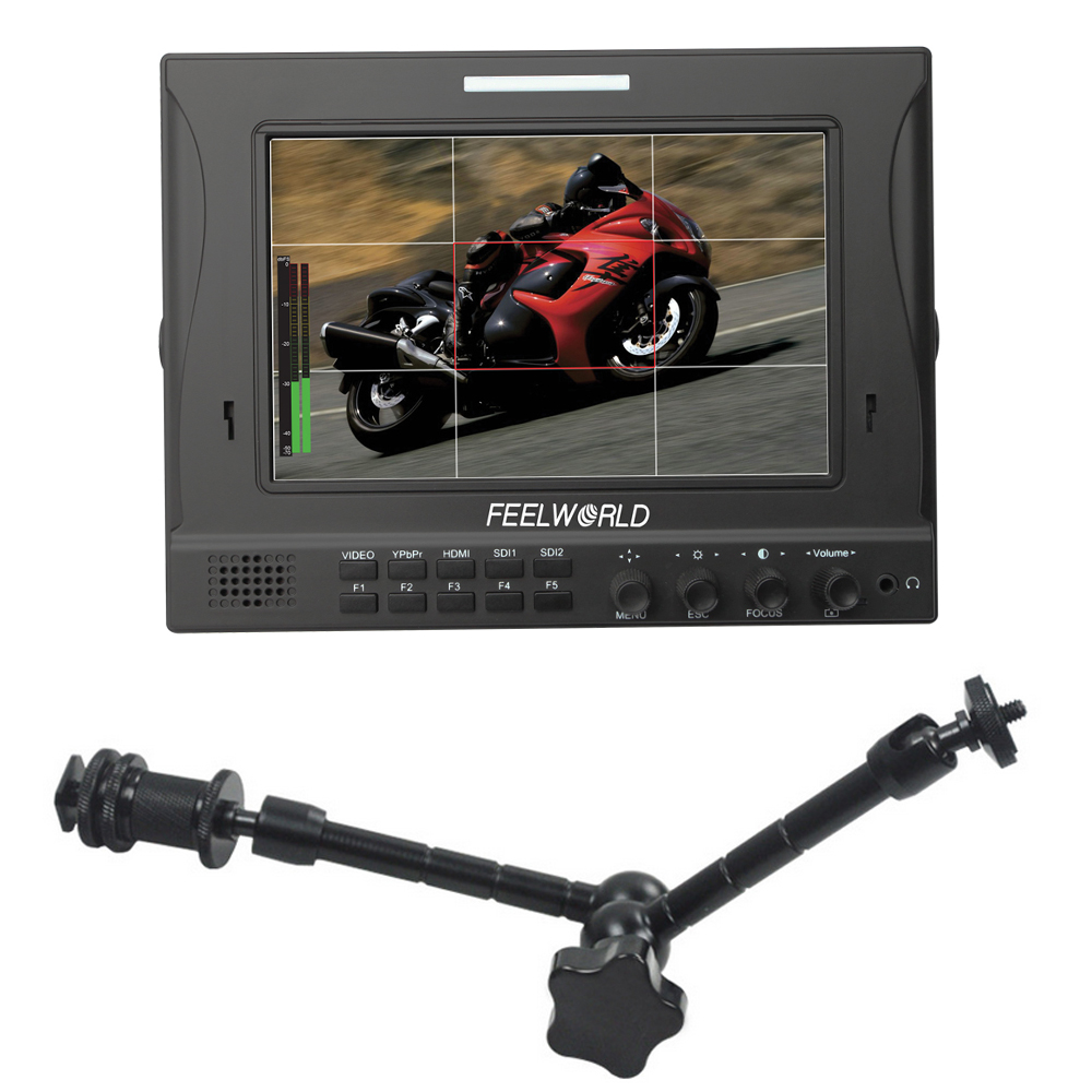 FEELWORLD FW-789 7 IPS Fully Featured Dual 3G-SDI on-Camera Field Monitor with 11 Magic Arm aputure vs 5 7 inch sdi hdmi camera field monitor with battery sun hood 11 magic arm rgb waveform vectorscope histogram zebra