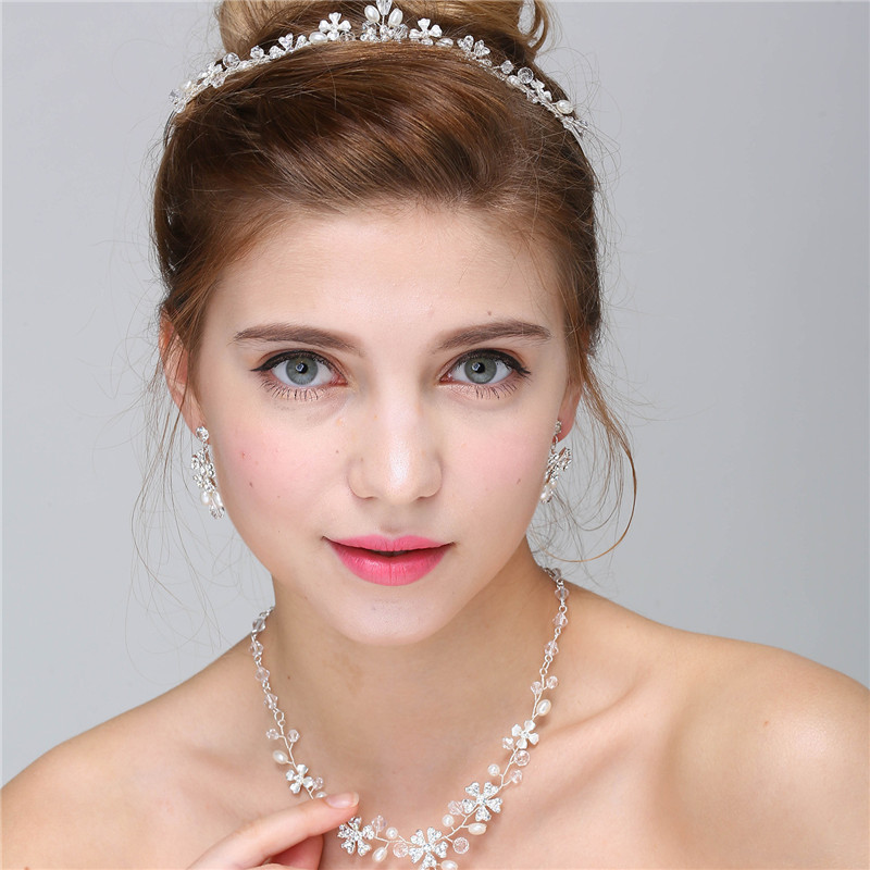 Fashion Silver Flower Pearl Bridal Jewelry Necklace Earrings Set Handmade Wedding Accessories Women Jewelry Sets