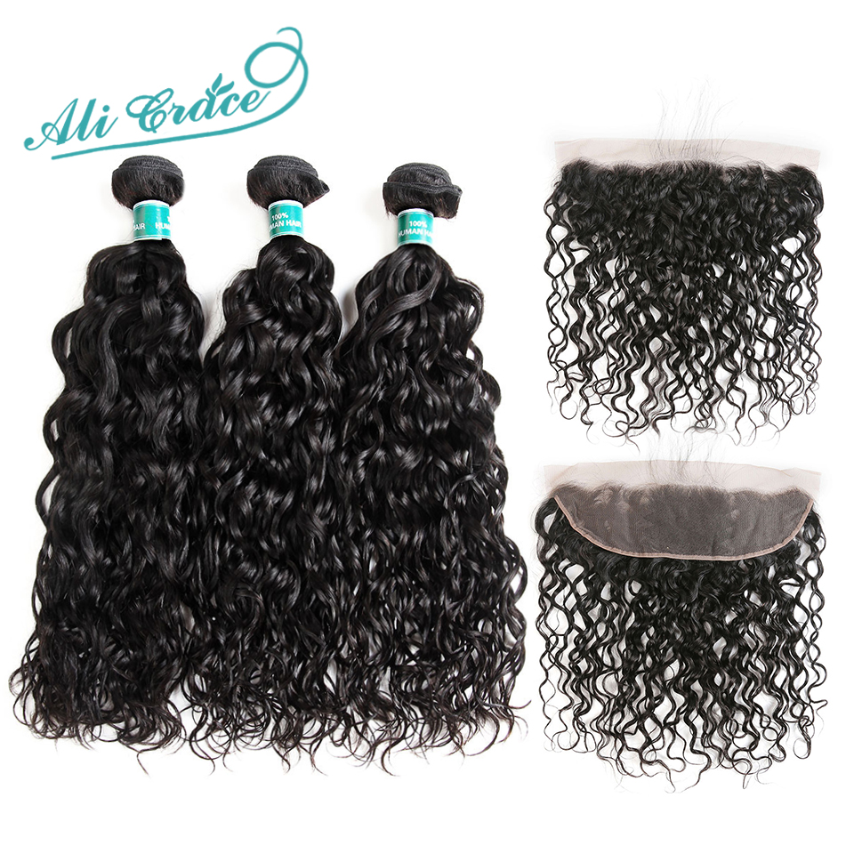 Ali Grace Hair Brazilian Water Wave 3 Bundles With Frontal 100% Remy Human Hair 13*4 Free Middle Part Ear To Ear Lace Frontal