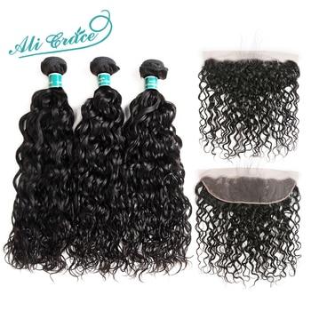 Ali Grace włosów brazylijski Water Wave 3 zestawy z Frontal 100% Remy ludzki włos 13*4 bezpłatne część środkowa ucha do ucha koronka Frontal