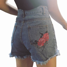 2019 New Summer Retro Flower Embroidery Denim Shorts Women Loose High Waist Short Feminino All Match Short Jeans Plus Size Short