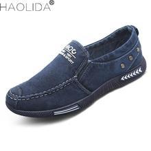 Новый 2018 холст Мужская обувь удобные джинсовые Для мужчин повседневная обувь кеды дышащая мужская обувь Демисезонный человек Туфли без каблуков летняя