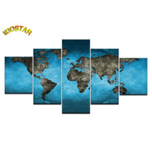 5 PCS DIAMANT PAINITNG BLUE WORLD MAP CANVAS kristal kruissteek borduren Strass Mozaïek wall art voor home decoration(China)