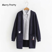Merry Pretty 2019 Autumn Long Sleeve Cardigans Cartoon Cat Embroidery On Pockets Casual Women Knitted Sweaater Outwear Knitwear