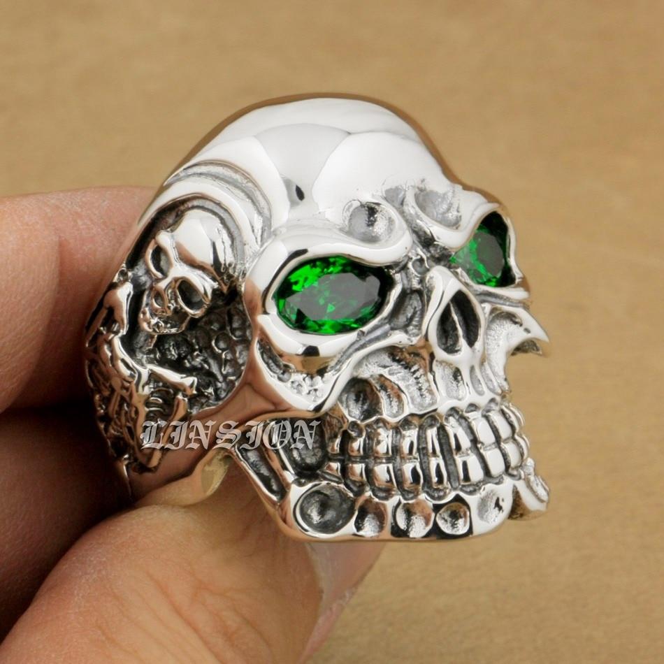 925 Sterling Silver Titan Skull Green CZ Eyes Mens Biker Ring 8V205A US 8~14 titan euro silver 63ач обр