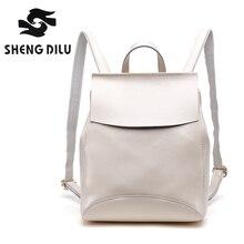 Shengdilu 100% натуральная кожа коровьей рюкзаки Мода 2017 г. рюкзак сумки для девочек Повседневная Mochila женские брендовые школьная сумка