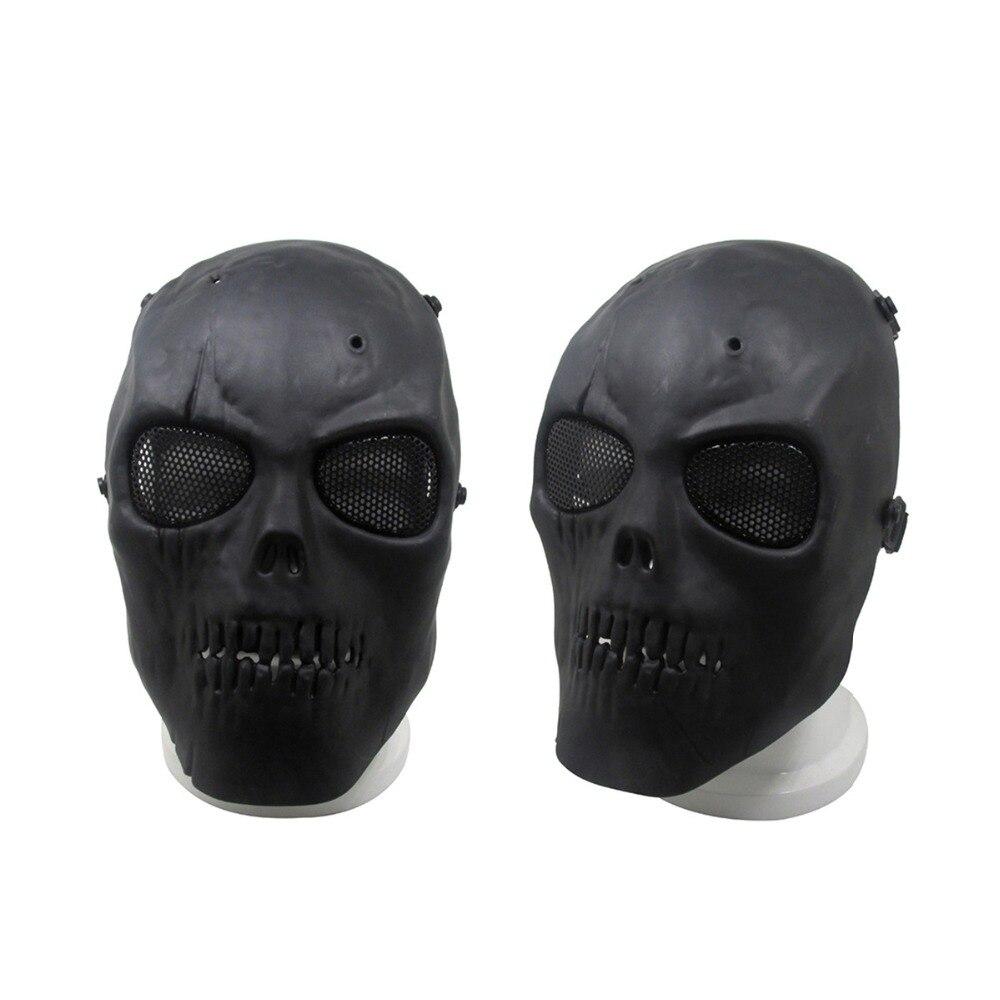 Black Full Face Blackhead Horror Airsoft Mask Masquerade Party Skull Mask Cool Masks For Cosplay Halloween Costume Mask Metal mata bor amplas