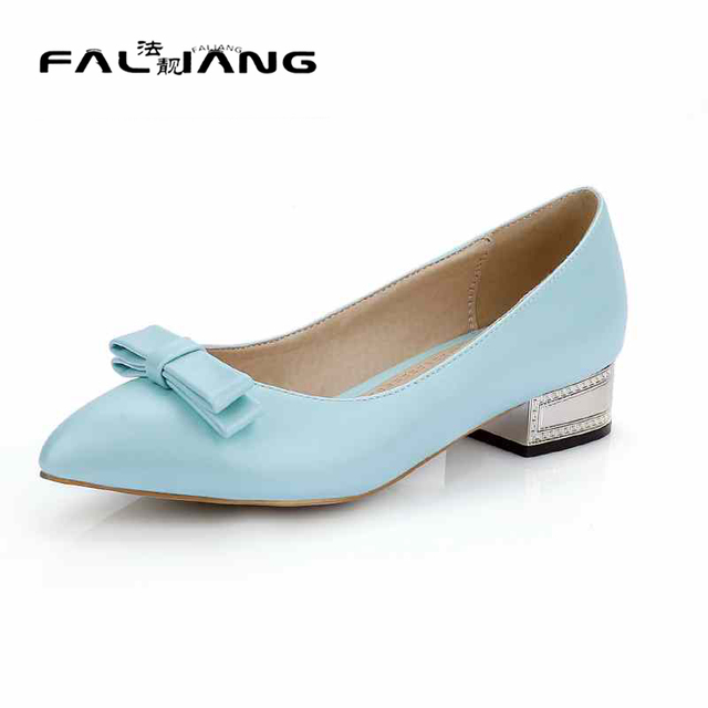 e404bbf369ec Sweet Casual Girls Shoes With Bowtie Slip On Low Heels Without Platform Pointed  Toe Candy Colors Summer Pumps