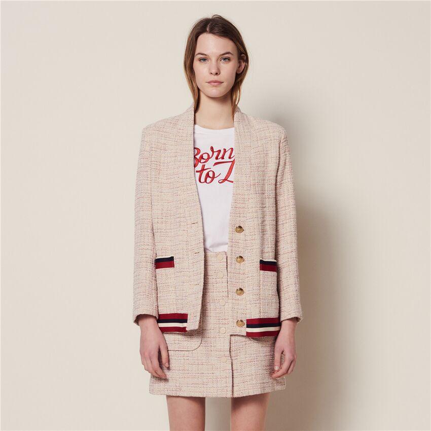 Kobiety płaszcz 2019 wiosna i lato metalowa klamra kieszeń Colorblock sweter krótki płaszcz w Podstawowe kurtki od Odzież damska na  Grupa 1