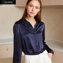 LILYSILK 22mm Basic Consealed Placket Silk Shirts 100% Charmeuse Silk Glossy Sophisticated Knitting NEWS Free Shipping