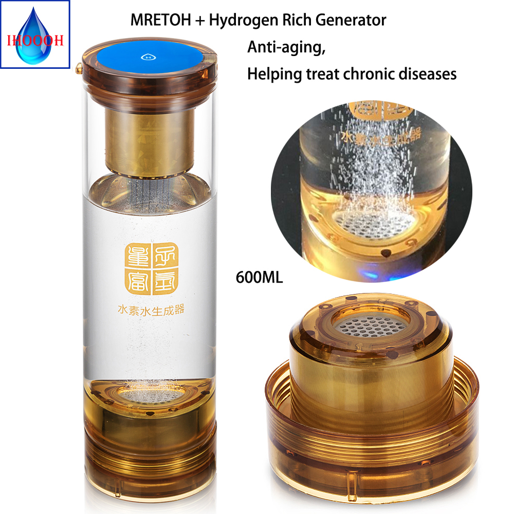 Helping treat chronic diseases MRETOH +Anti-Agin Hydrogen rich Generator water cup 600ml touch switch USB Rechargeable factory