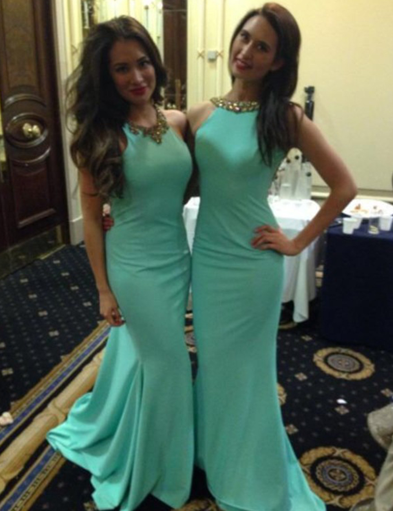 Aliexpress buy b3207 mint green turquoise bridesmaid dresses aliexpress buy b3207 mint green turquoise bridesmaid dresses mermaid long elegant scoop open back with beaded scoop cheap party formal gowns from ombrellifo Image collections