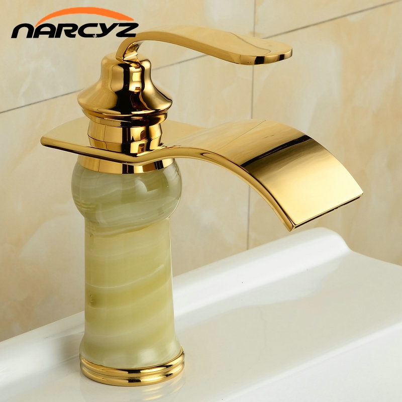 Waterfall Marble faucet basin golden taps XT610