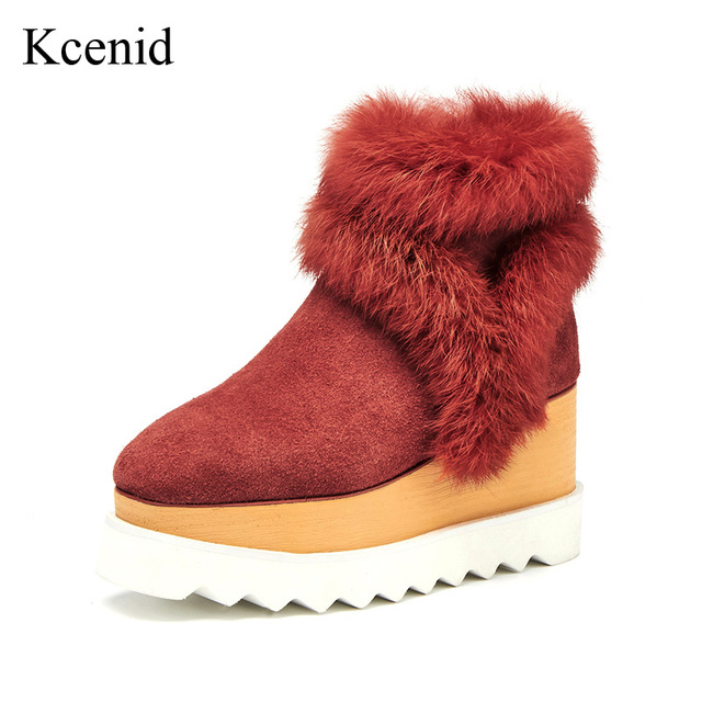 6988cb401c0d9 US $66.03 33% OFF|Kcenid Real rabbit fur natural suede women winter boots  platform shoes woman square toe plush inside ankle boots big size 33 42-in  ...