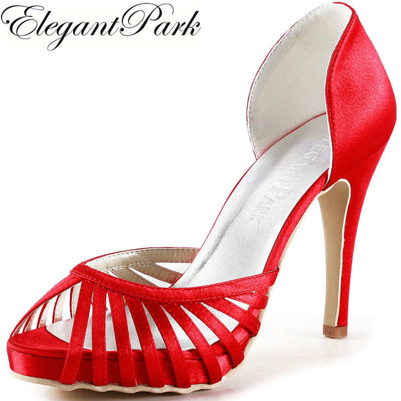 Summer Women Shoes EP2008-IP Red High Heel pumps Satin lady woman  Bridal Wedding Shoes Prom Party Sandals beautiful fashion blue wedding shoes for woman rhinestone bridal dress shoes lady high heel luxurious party prom shoes