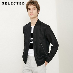Image 2 - SELECTED Mens Linen Splice Coat Autumn & Winter Baseball Collar Jacket Clothes C