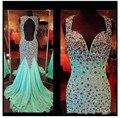 Brillante de lujo Con Cuentas de Cristal Sweetheart Cap Mangas Largas y Espalda Abierta Verde Menta de Baile Vestidos de Gasa de la Moda 2016 Vestido de Sirena