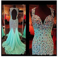 Luxury Sparkly Beaded Crystal Sweetheart Cap Sleeves Long Open Back Mint Green Prom Dresses Fashion Chiffon 2016 Mermaid Dress