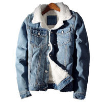 Men S Jean Jacket Fashion Mens Jacket Thick Warm Winter Outwear Male Cowboy Casual Slim Long