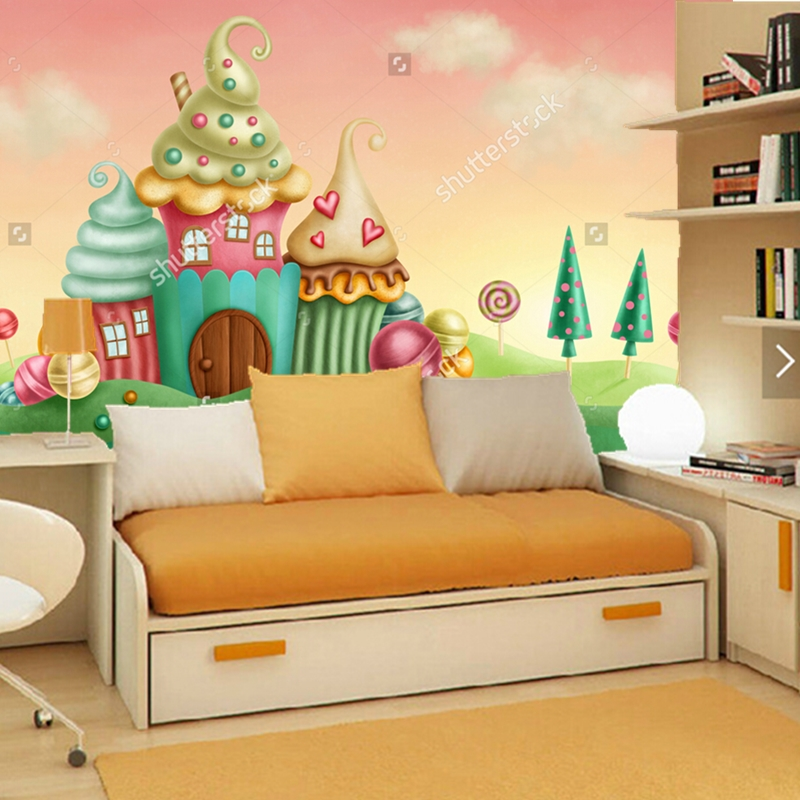 Custom papel de parede infantil.house from the fantasy of the cake, 3D fantasy wallpaper for children's room living room wall the custom of the country