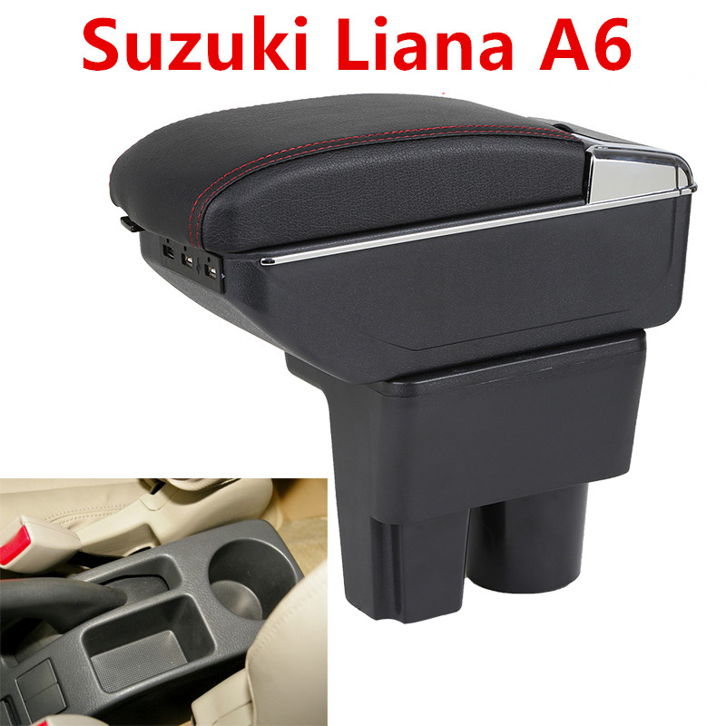 For Suzuki Liana A6 armrest box central Store Aerio content box with cup holder ashtray decoration products With USB interface for chery tiggo 2 3x 2016 2017 2018 armrest box central store content box with cup holder ashtray decoration with usb interface