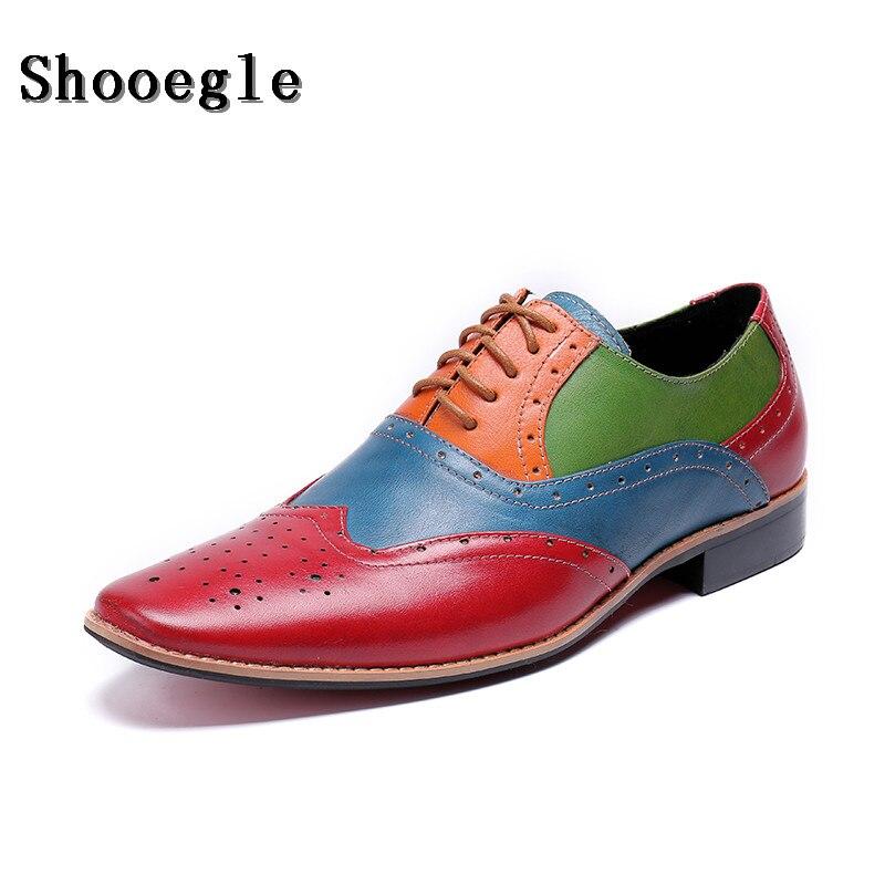 SHOOEGLE/Новинка; мужские лоскутные оксфорды; роскошные кожаные свадебные модельные туфли; Мужские броги с перфорированным носком; обувь для банкета; лоферы в деловом стиле - 2