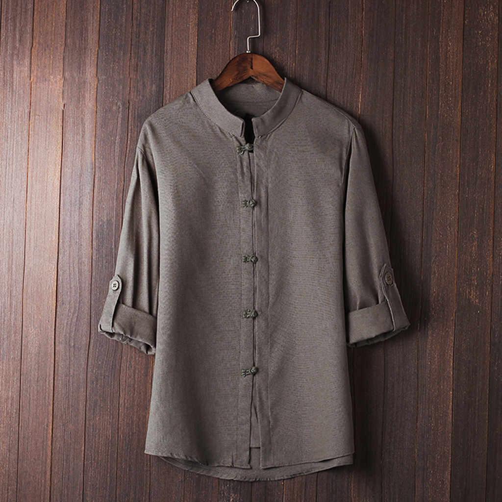 メンズクラシック中国風のカンフーシャツトップス唐装 3/4 袖リネンブラウスカミーサ Masculina シュミーズオム男性シャツ