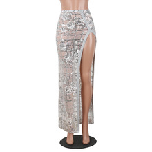 купить Hot selling sexy sequin embroidery maxi skirt high slit sparking mesh pencil skirt по цене 1815.21 рублей